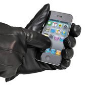 Touchscreen Leather Gloves (Men's).