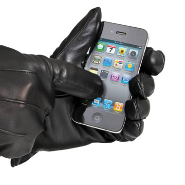 The Touchscreen Leather Gloves (Mens).