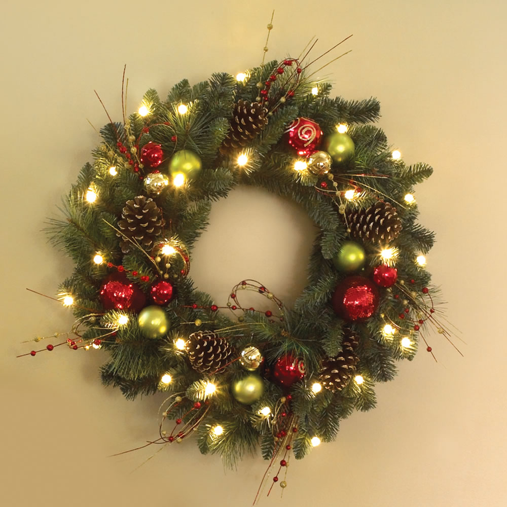 The Cordless Prelit Ornament Trim Wreath Hammacher