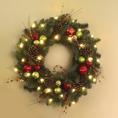 The Cordless Prelit Ornament Trim (Wreath)
