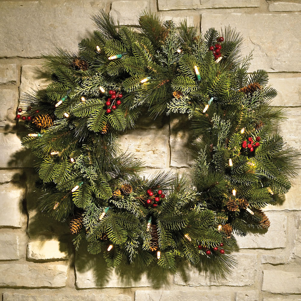 "CHRISTMAS WREATH 24"" Cordless PRE-LIT + DECORATED Indoor"