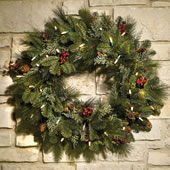 "The Decorated Cordless Prelit Holiday 24"" Wreath."