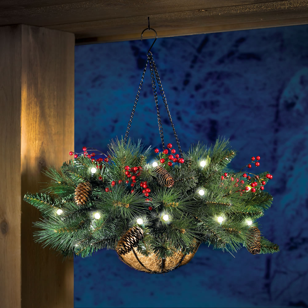 Christmas Ornaments Outdoor Hanging : The cordless hanging holiday pinecone and berry basket