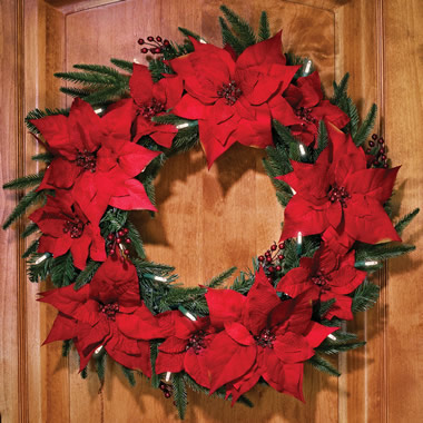The Cordless Prelit Poinsettia Wreath