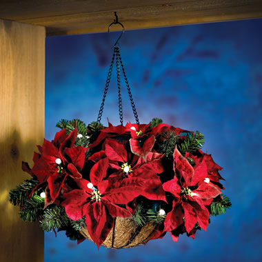 The Cordless Hanging Holiday Poinsettia Basket