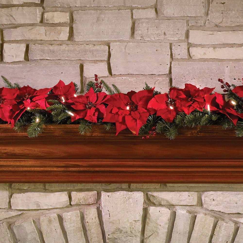 The Cordless Prelit Poinsettia Garland 2