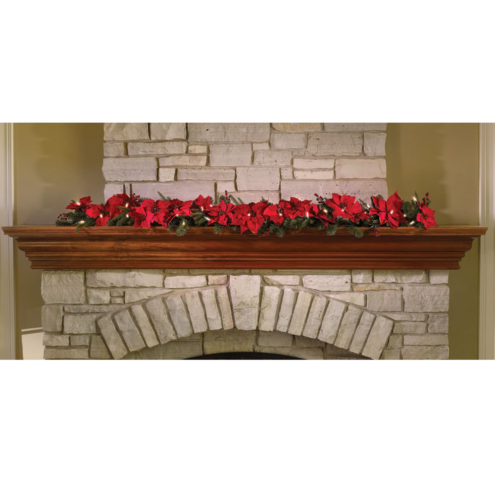 The Cordless Prelit Poinsettia Garland 1