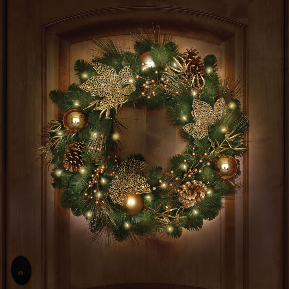 cordless pre lit christmas wreath 24 dia holiday home. Black Bedroom Furniture Sets. Home Design Ideas