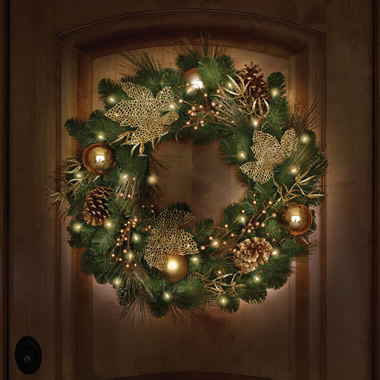 The St. John's Wood Golden Cordless Holiday Trim (Wreath).