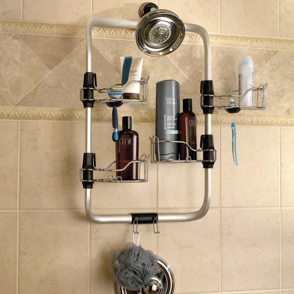 The configurable shower caddy hammacher schlemmer for Bathroom caddy ideas