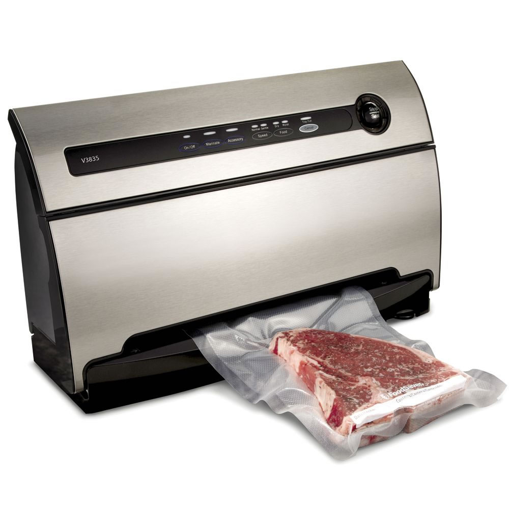 Vacuum food sealers are electronic or battery operated appliances that create a vacuum in the plastic where food is stored before heat sealing the plastic's opening. The bigger and pricier the vacuum food sealer, the higher the standard of vacuum it produces. Vacuum food sealers are available as countertop, portable and the largest kind, chamber type.