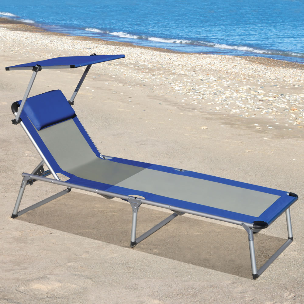 Beach lounge chair portable - The Canopied Lounger