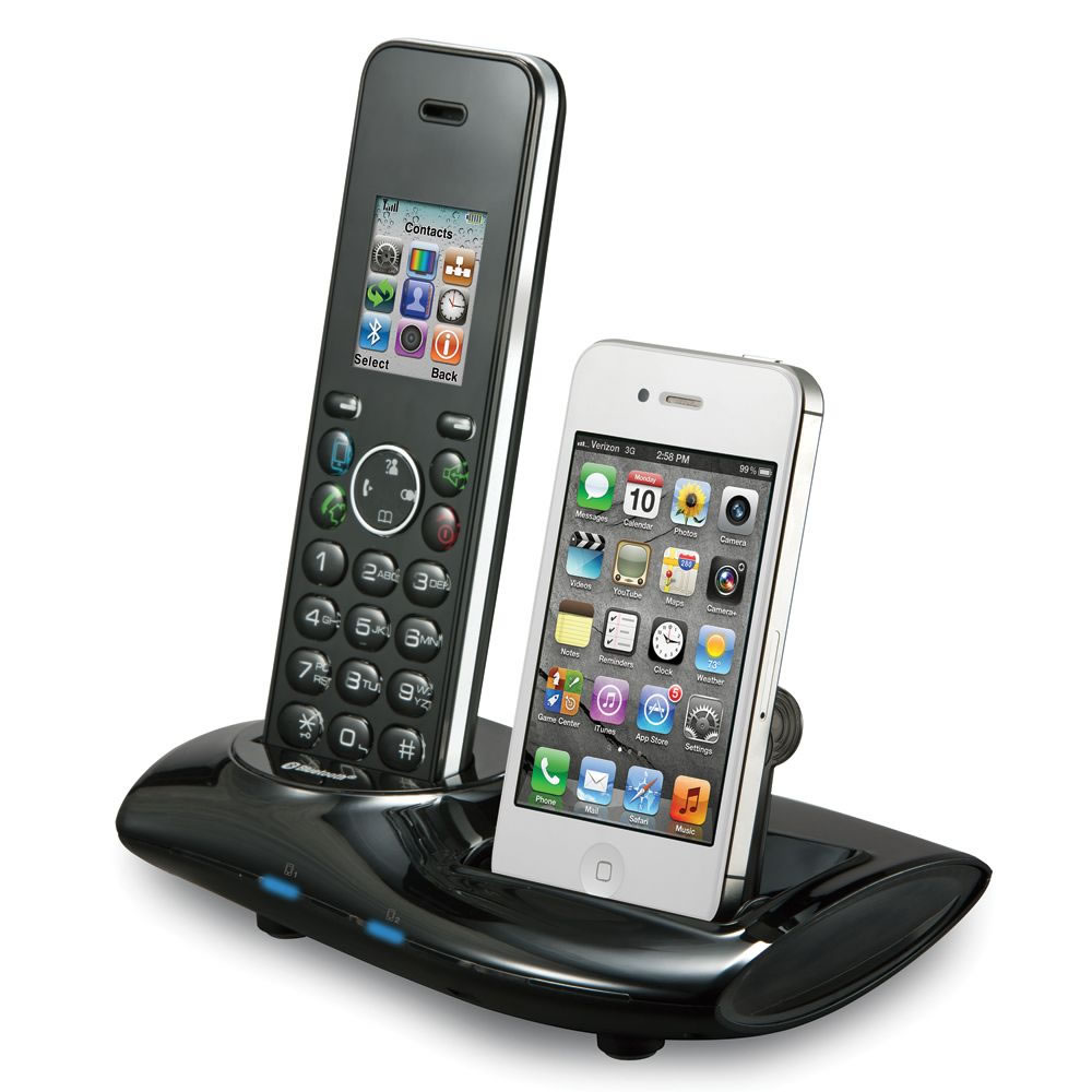 the home phone and iphone unifier hammacher schlemmer. Black Bedroom Furniture Sets. Home Design Ideas