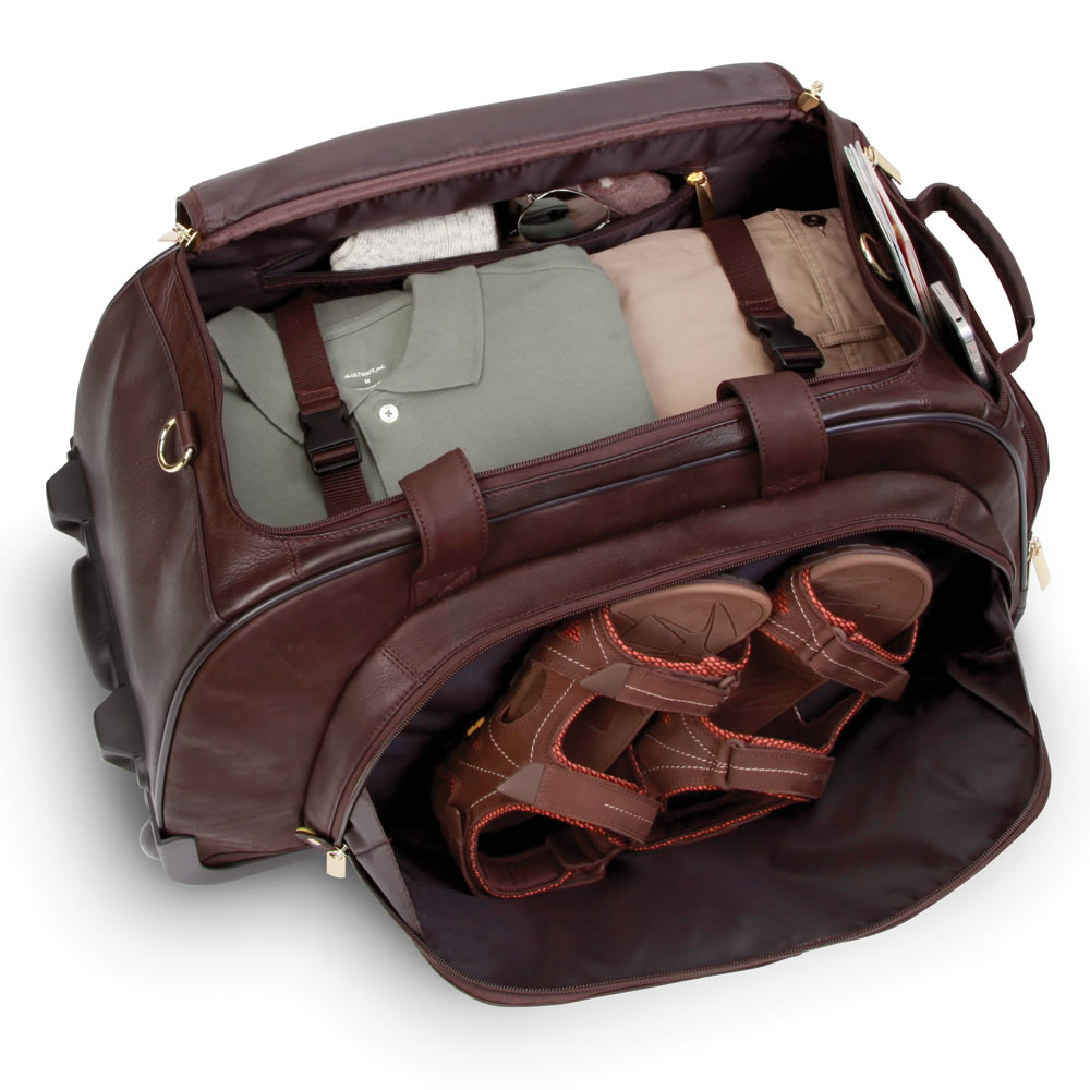 The Bomber Jacket Leather Wheeled Duffel 4