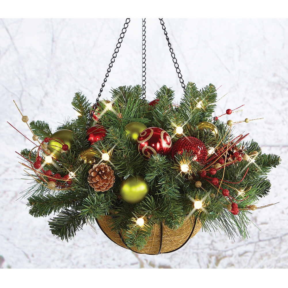 Cordless pre lit christmas hanging basket 24 dia holiday for Outdoor hanging ornaments
