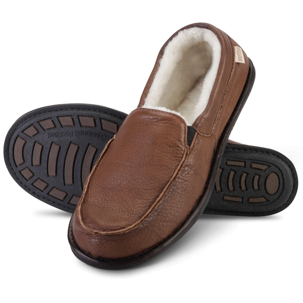 The Gentlemen's Bison Leather Closed Heel Slippers 1