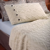 The Aran Islands Knitted Coverlet (Standard Pillow Shams).