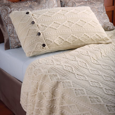 The Aran Islands Knitted Coverlet (Standard Pillow Shams).