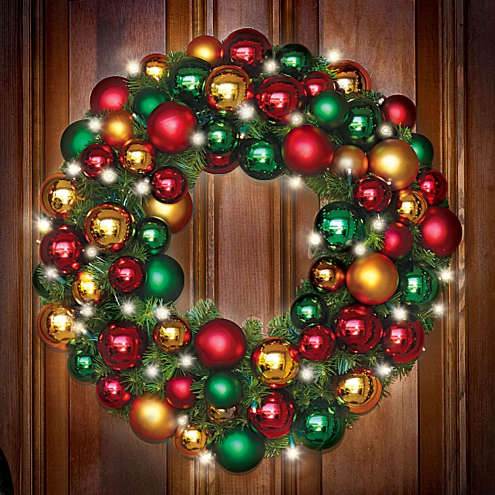 Cordless pre lit 27 christmas wreath ornaments holiday for Led outdoor christmas ornaments
