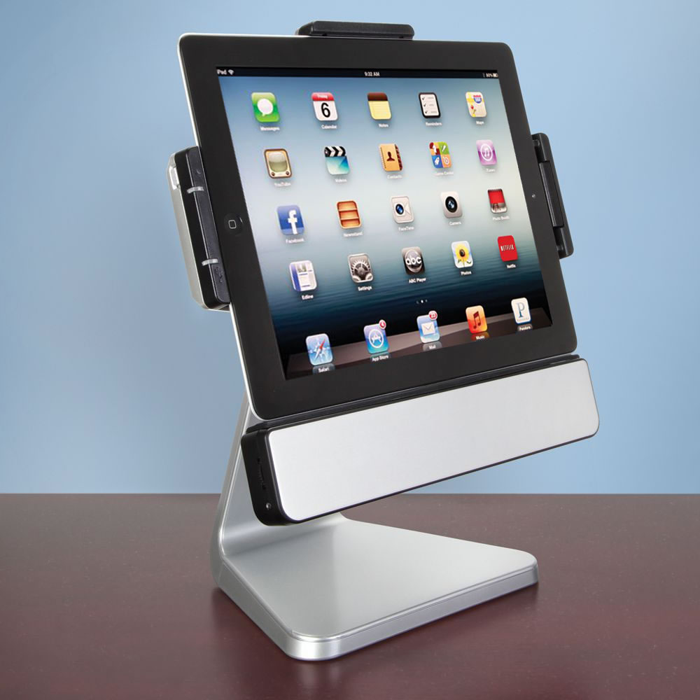 the rotating ipad speaker dock hammacher schlemmer. Black Bedroom Furniture Sets. Home Design Ideas