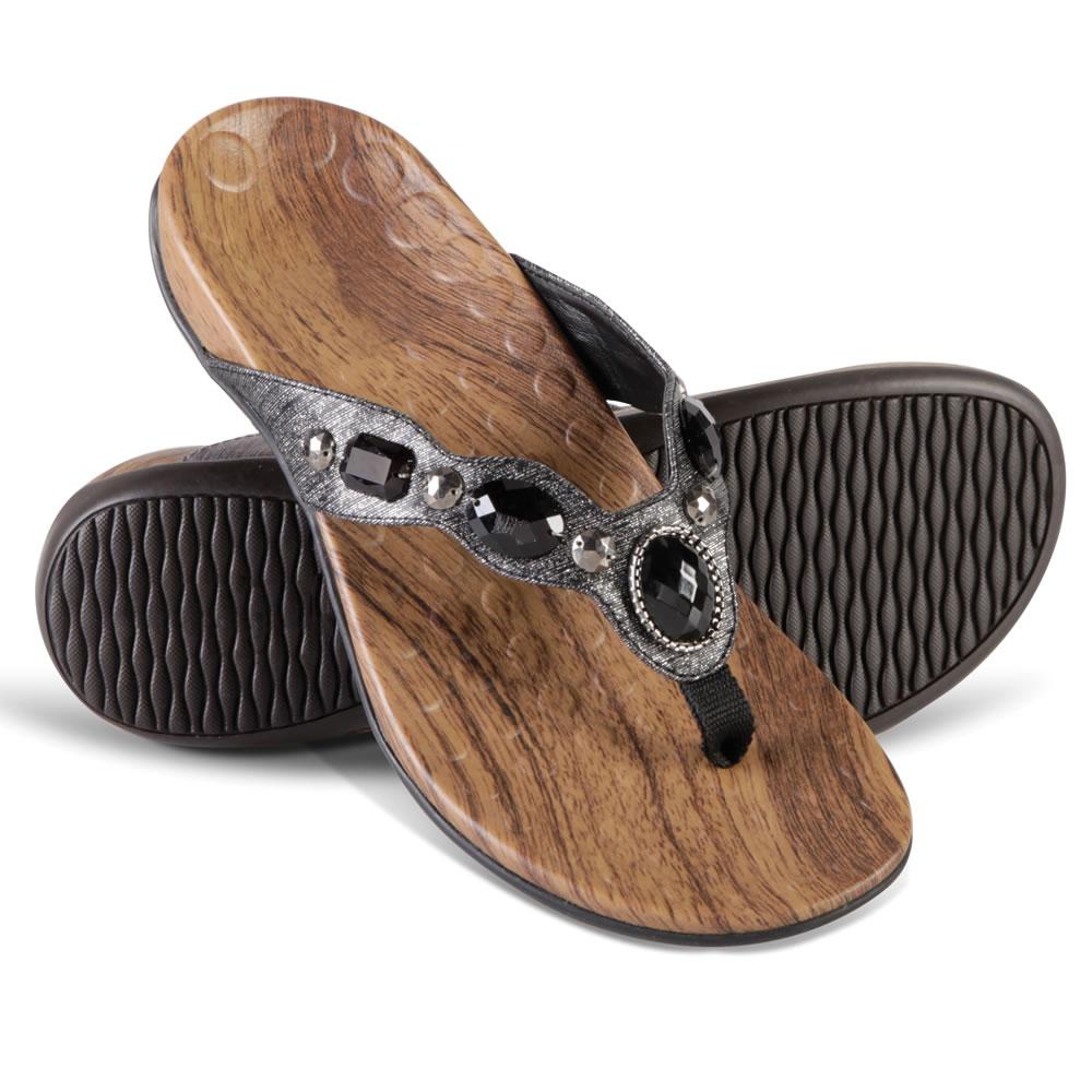 Innovative The Ladyu0026#39;s Plantar Fasciitis Sparkling Sandals Size 7 Bronze Jeweled Flip Flops | EBay