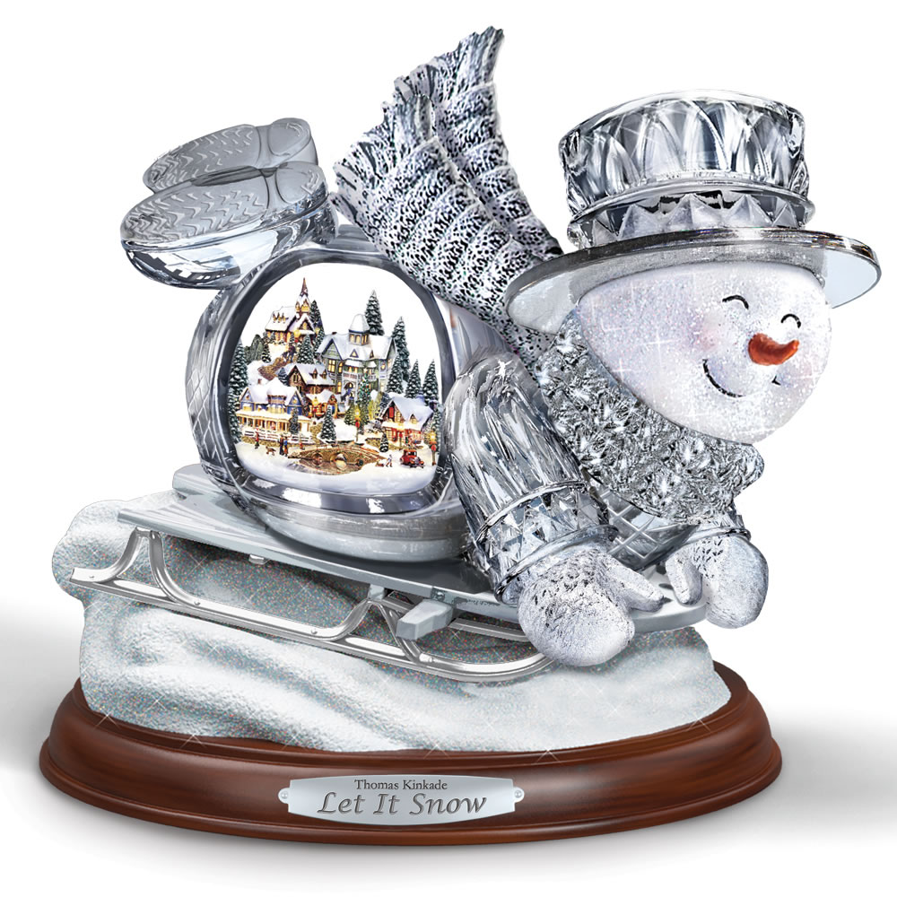 The Thomas Kinkade Illuminated Musical Sledding Snowman 1