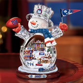 The New York Giants Crystal Snowman With Moving Train.
