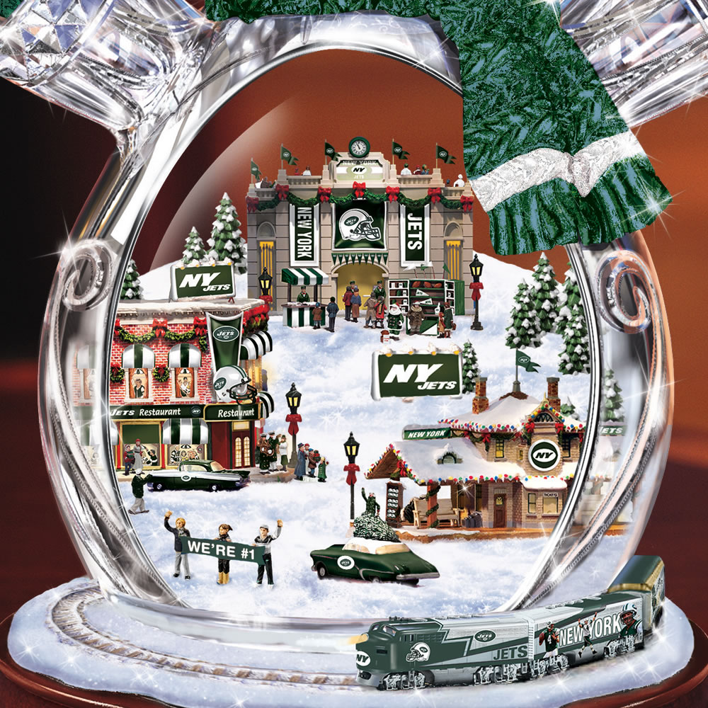The New York Jets Crystal Snowman with Model Train 2