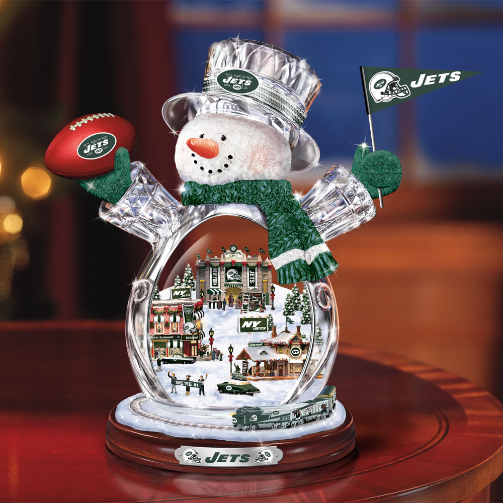 The New York Jets Crystal Snowman with Model Train 1