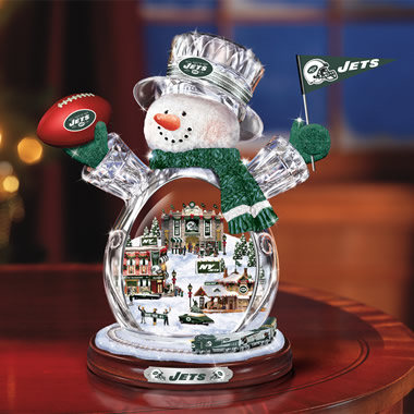 The New York Jets Crystal Snowman with Model Train.