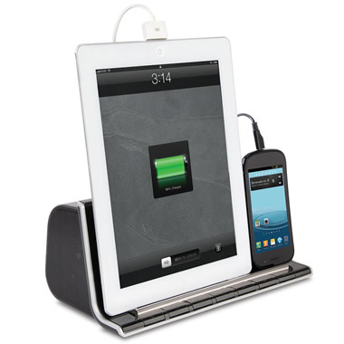 The Smartphone And Tablet Charging Speaker Dock.