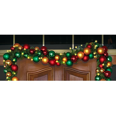 The Ornament Ball Cordless Prelit Garland.