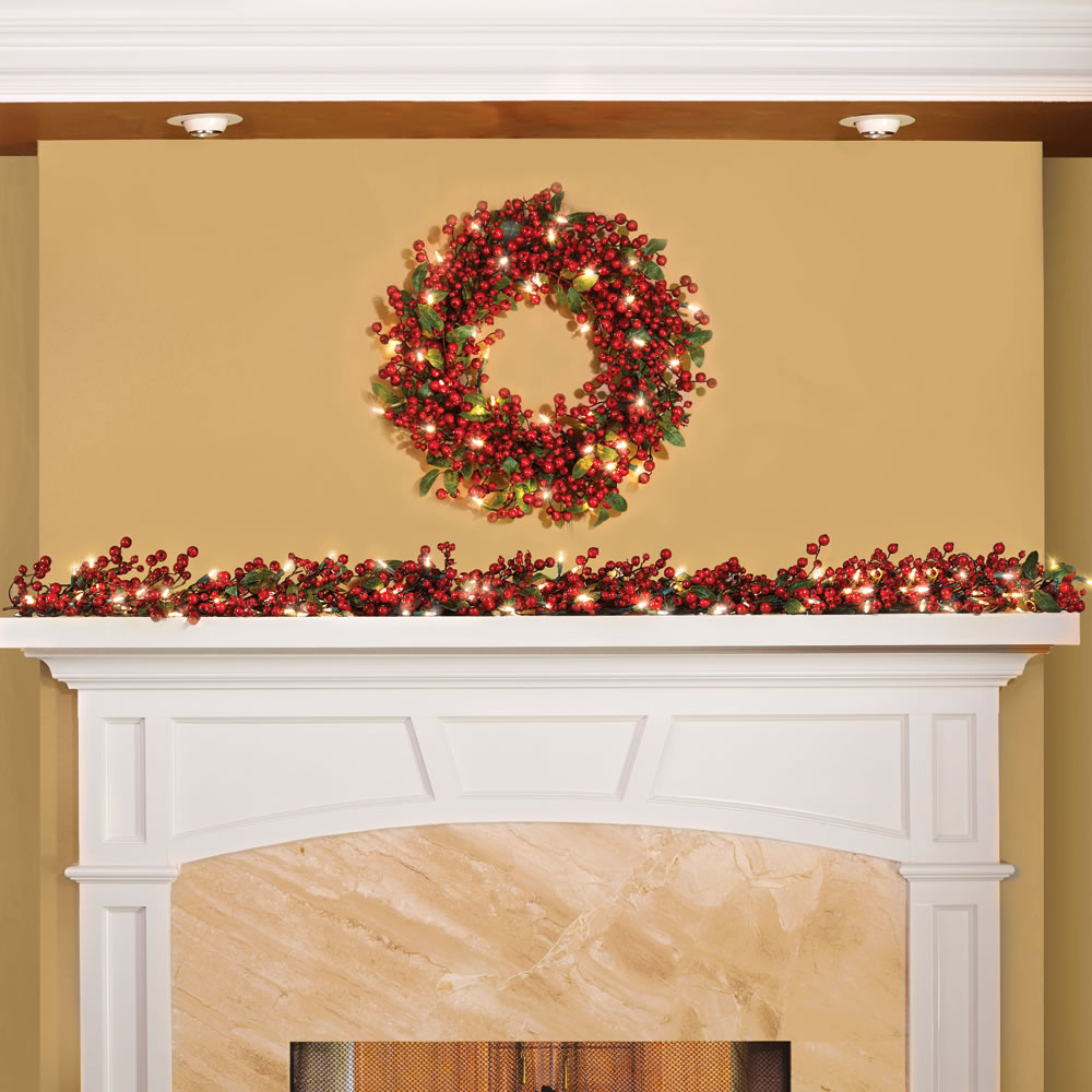 The Cordless Prelit Holly Berry Holiday Garland 2
