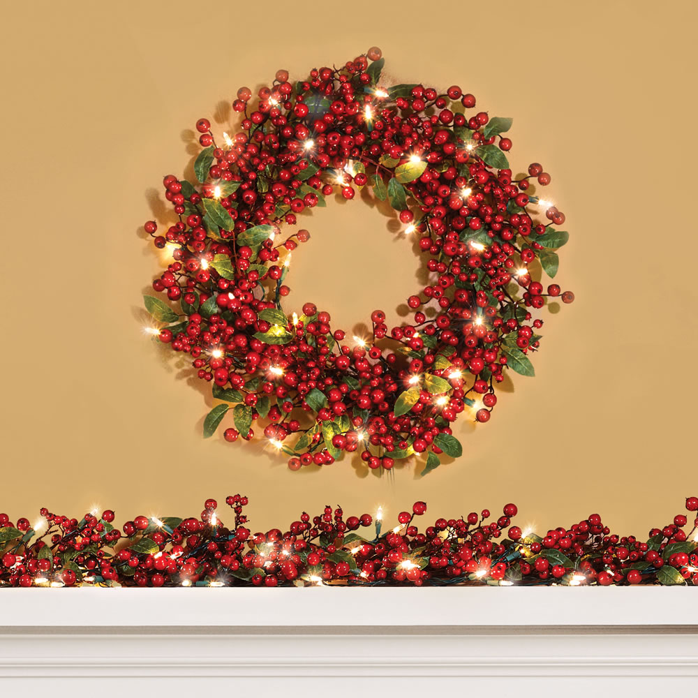 The Cordless Prelit Holly Berry Holiday Garland 1