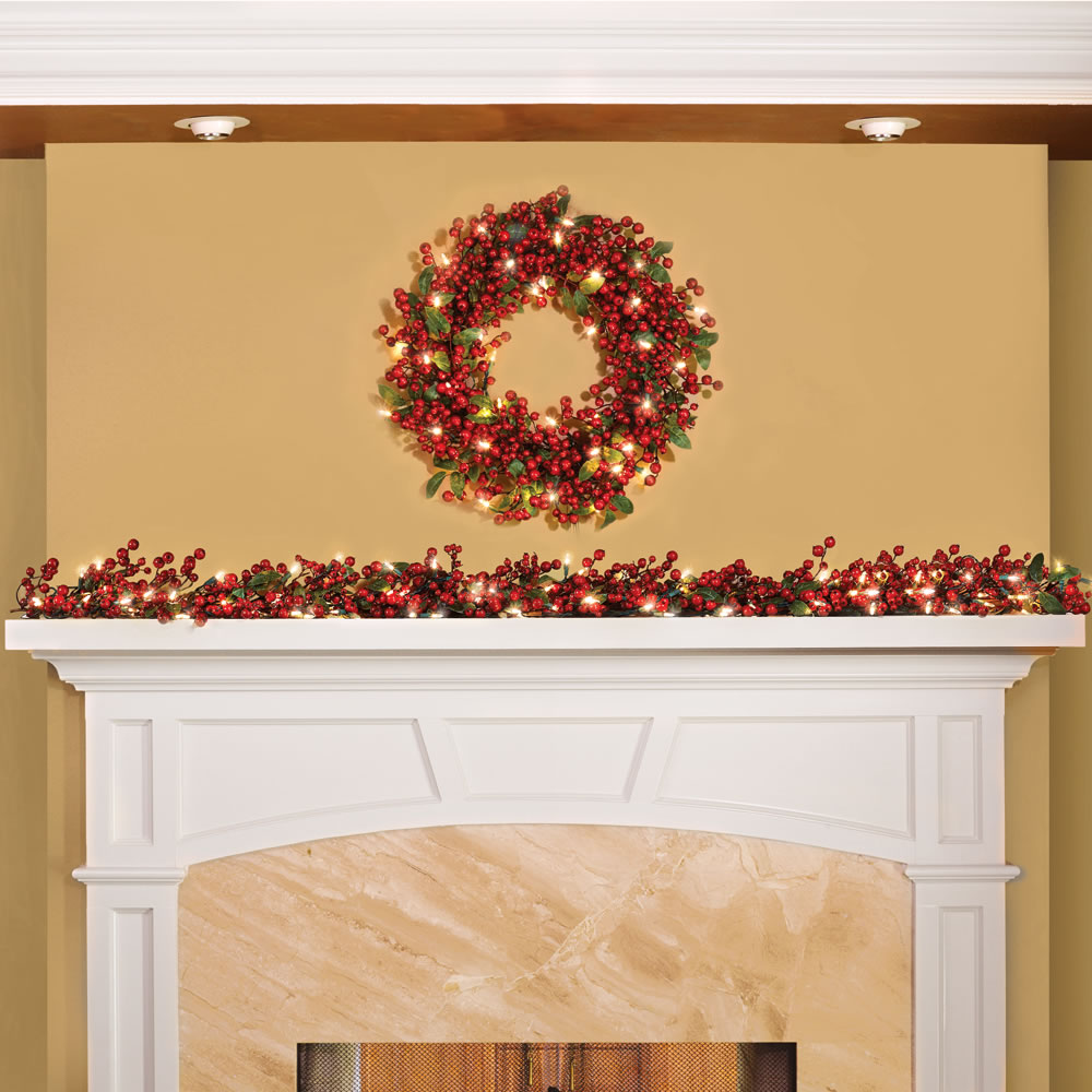 The Cordless Prelit Holly Berry Holiday Wreath 2
