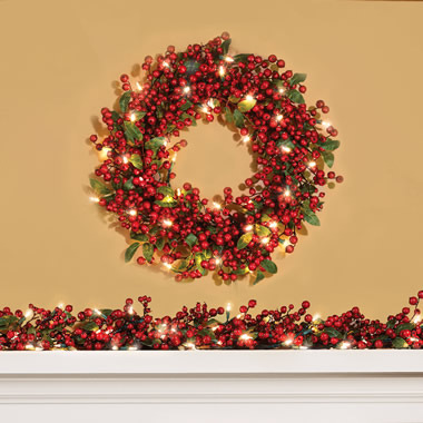 The Cordless Prelit Holly Berry Holiday Wreath.