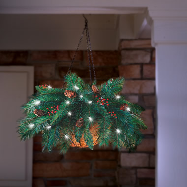 The Cordless Hanging Holiday Pinecone And Berry Basket.