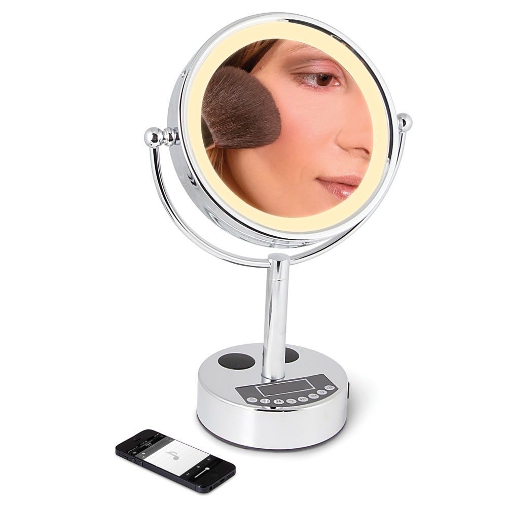 Vanity Lights Wireless : The Wireless Music Playing Vanity Mirror - Hammacher Schlemmer