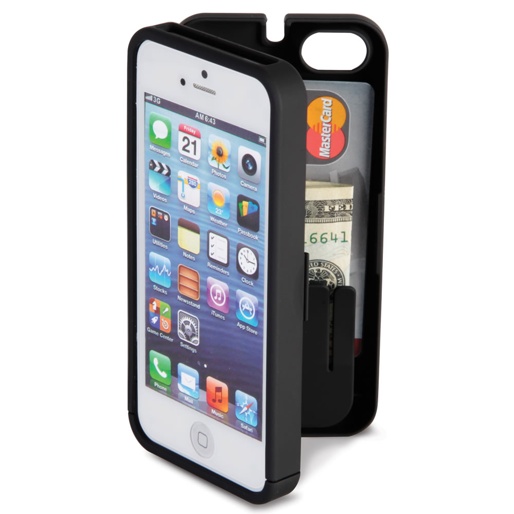 The iPhone 5/5s/SE Polycarbonate Wallet  (Black)1