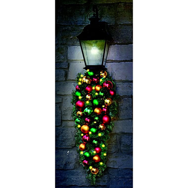 The Ornament Ball Cordless Prelit Teardrop Sconce.