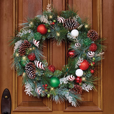 The Cordless Prelit Festive Twist Holiday Wreath.