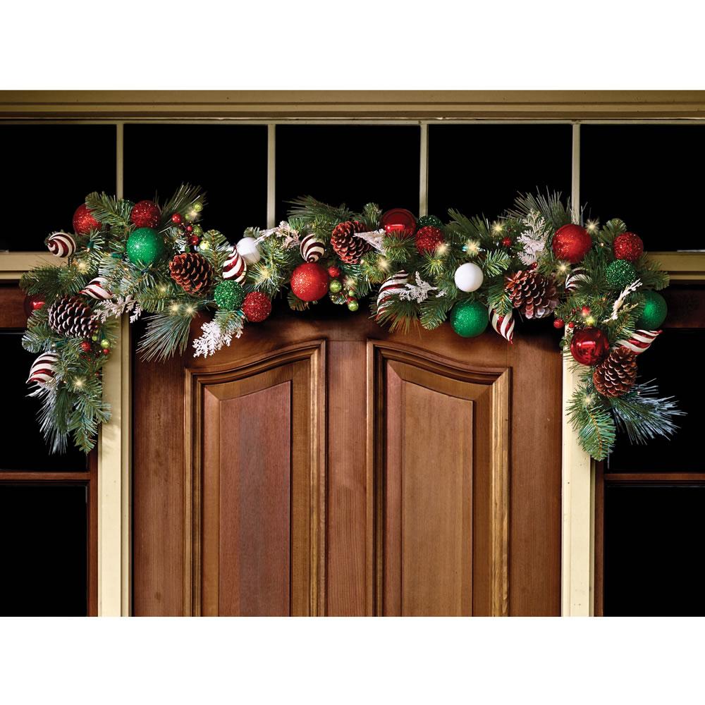 cordless prelit led72 christmas ornament garland holiday. Black Bedroom Furniture Sets. Home Design Ideas