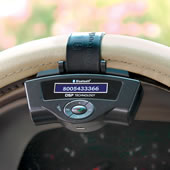 The iPhone Steering Wheel Bluetooth Speakerphone.