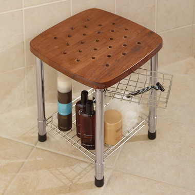 The Better Teak Shower Stool Hammacher Schlemmer