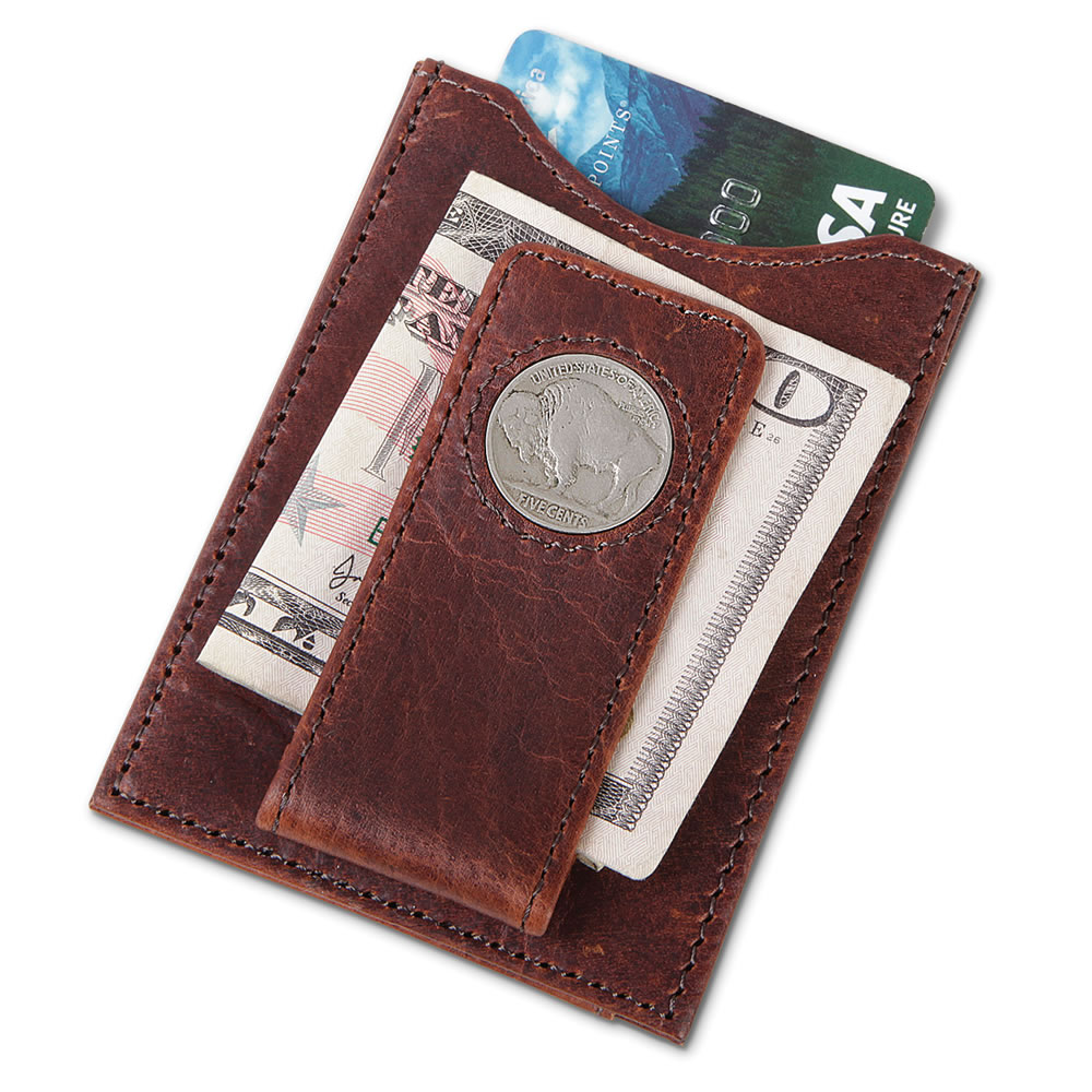 The Buffalo Nickel Leather Money Clip 1