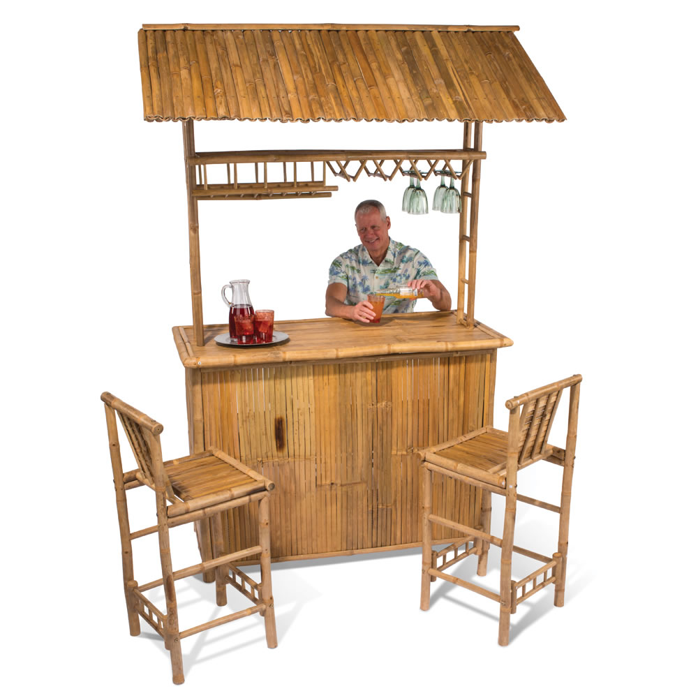 The genuine bamboo tiki bar hammacher schlemmer - Bamboo bar design ideas ...