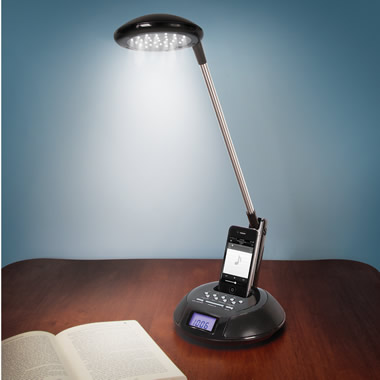 The Space Saving Clock Radio Lamp.