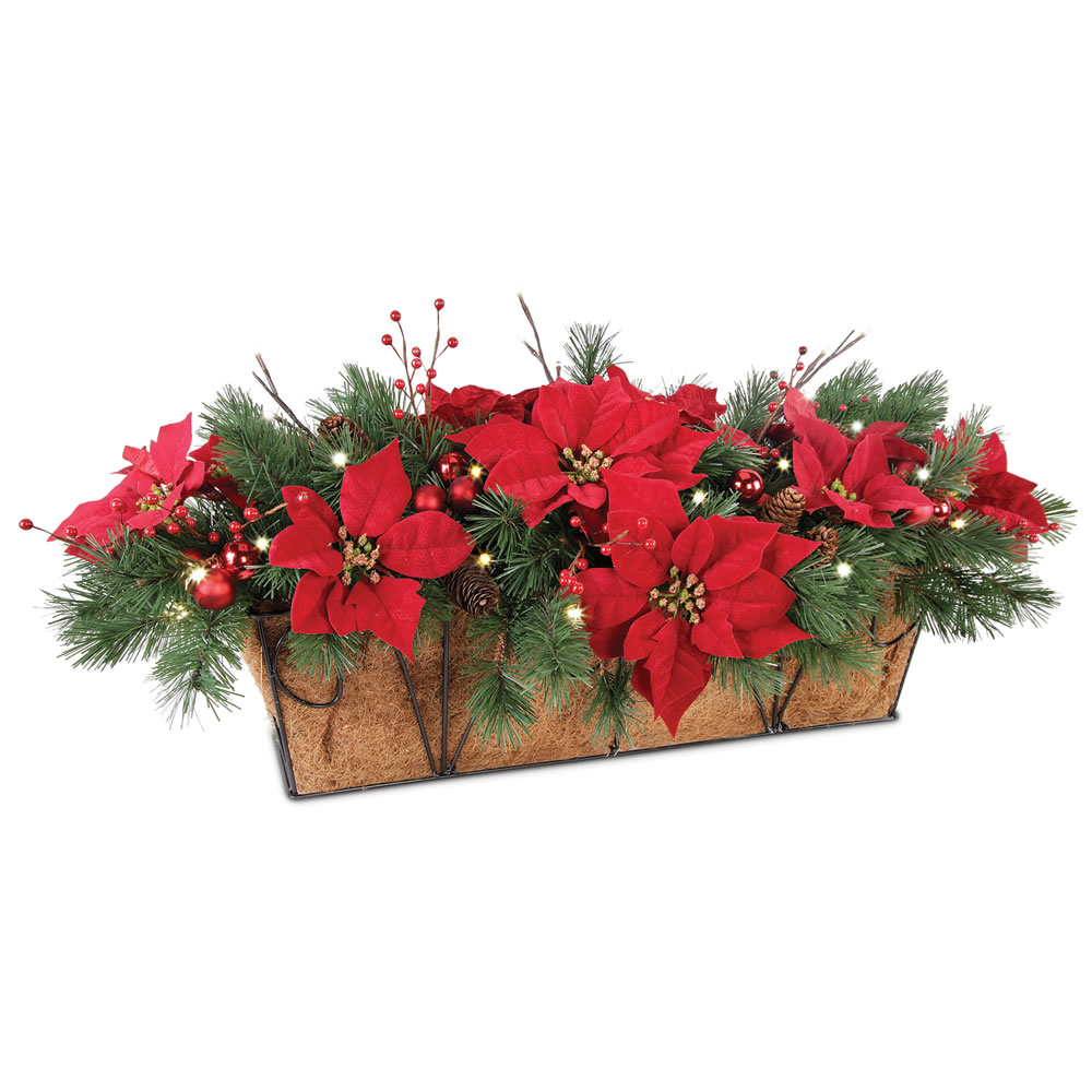 The Cordless Prelit Poinsettia Flower Box 2