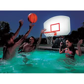 The Lighted Poolside Basketball Hoop.