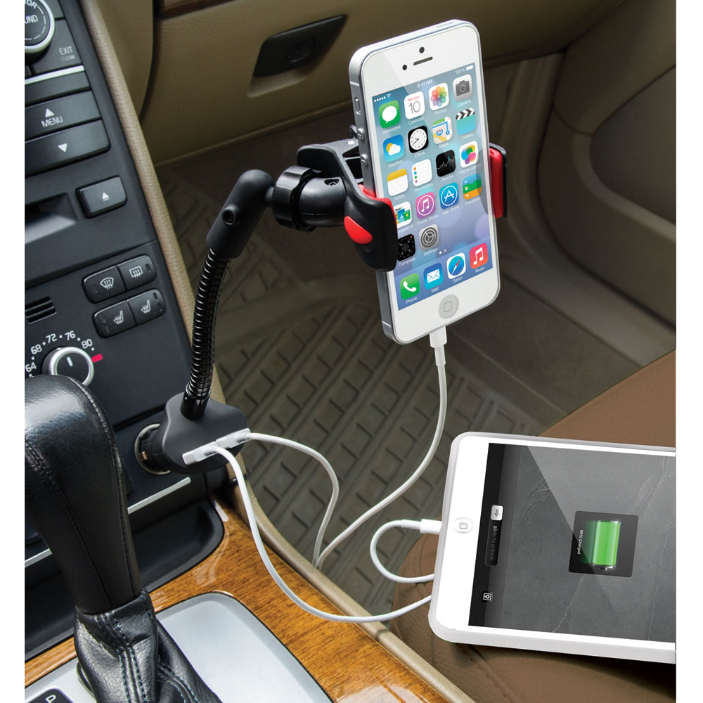 the dual iphone charging car mount hammacher schlemmer. Black Bedroom Furniture Sets. Home Design Ideas
